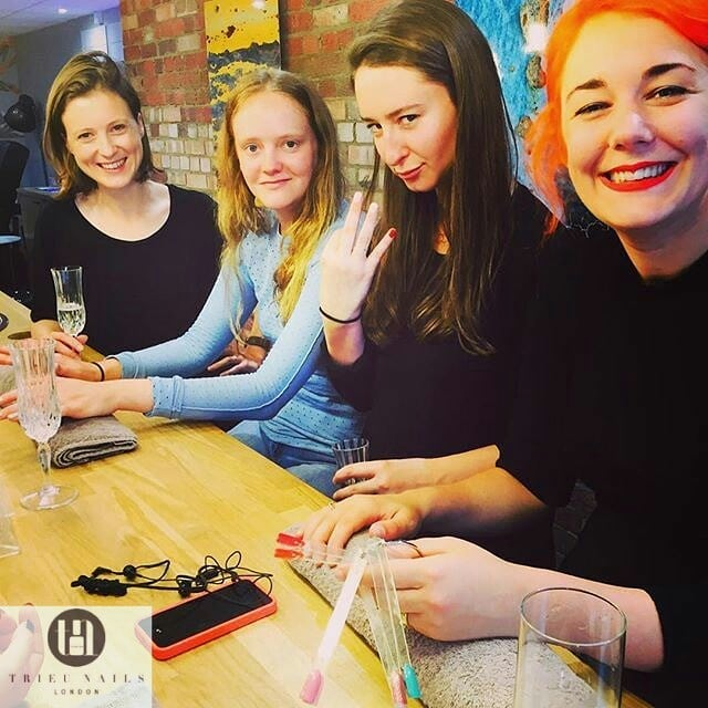 Hen party in the trendy nail bar Trieu Nails London