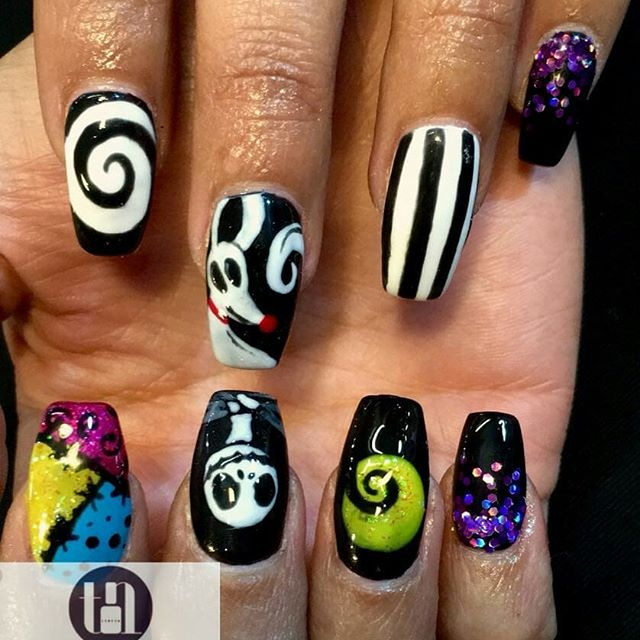 Full set of halloween nail art hand painted in Trieu Nails London