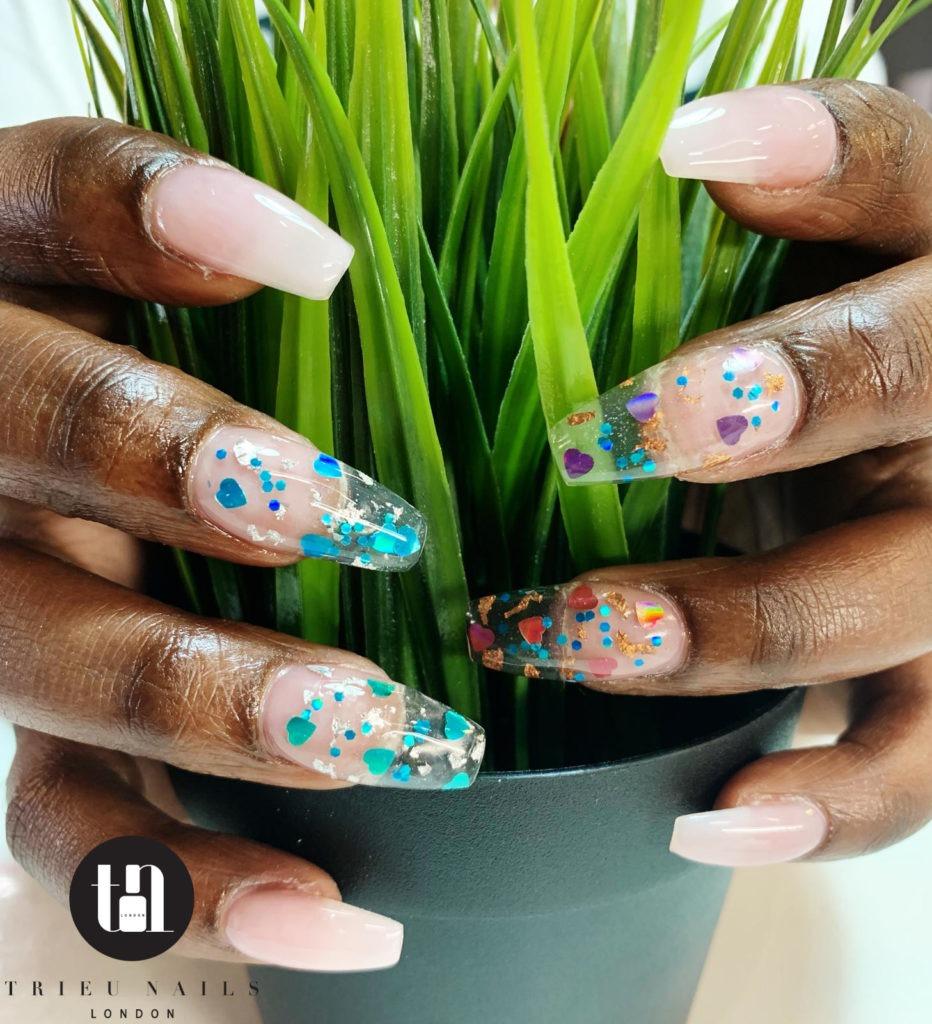 SNS Nail with nail art Trieu Nails London